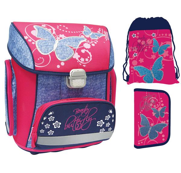 Batoh školní anatomický Premium Motýl sada 302546