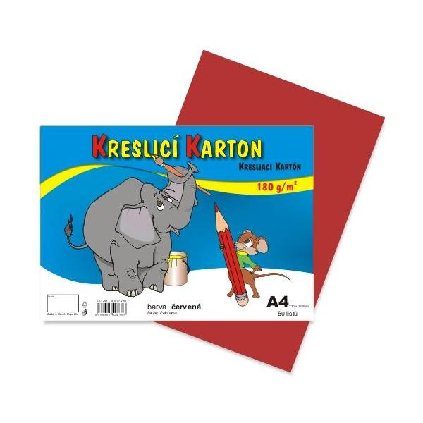 Kreslicí karton A4 - červený 912394