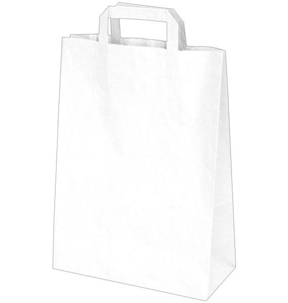 Papírové tašky 26x12x36cm bílé 50ks 219647