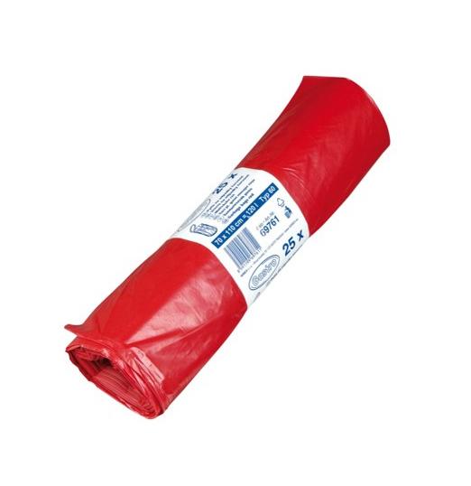 Pytle na odpadky 120l 50 mic 25ks červené 217008