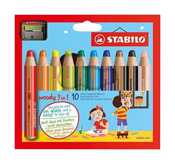 Stabilo woody 3in1 pastelky 10ks + ořezávátko 302988