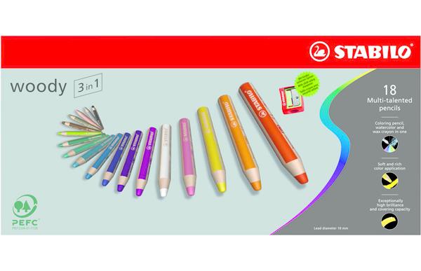 Stabilo woody 3in1 pastelky 18ks + ořezávátko 302989