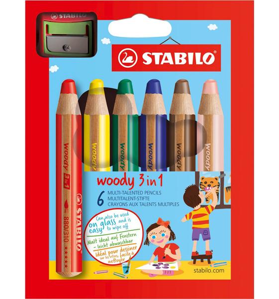 Stabilo woody 3in1 pastelky 6ks + ořezávátko 300721