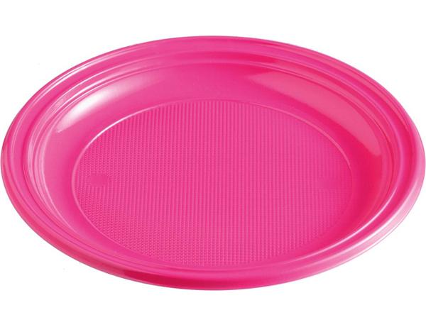 Talíře plastové barevné 22cm 10ks magenta 956876