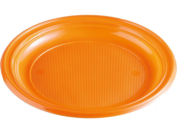Talíře plastové barevné 22cm 10ks oranžové 956874