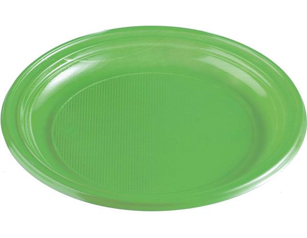 Talíře plastové barevné 22cm 10ks světle zelené 956877