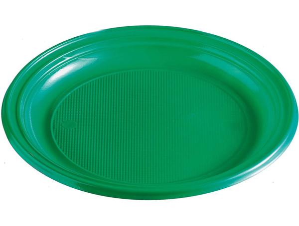 Talíře plastové barevné 22cm 10ks zelené 956871