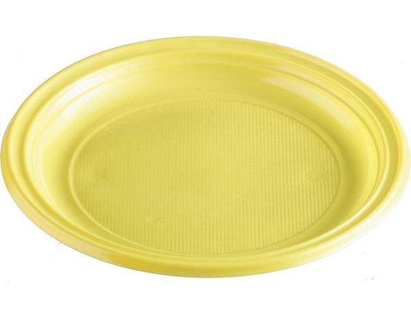 Talíře plastové barevné 22cm 10ks žluté 956870